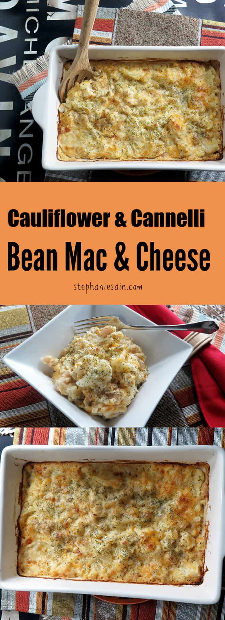 Cauliflower and Cannelli Bean Mac & Cheese is my grown up version of an age old favorite. Vegetarian and Gluten Free.