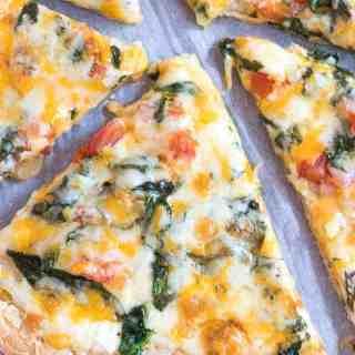 Easy Spinach Alfredo Pizza (Gluten Free)