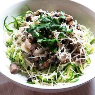 Zucchini Noodles with Mushrooms & Parmesan Cheese
