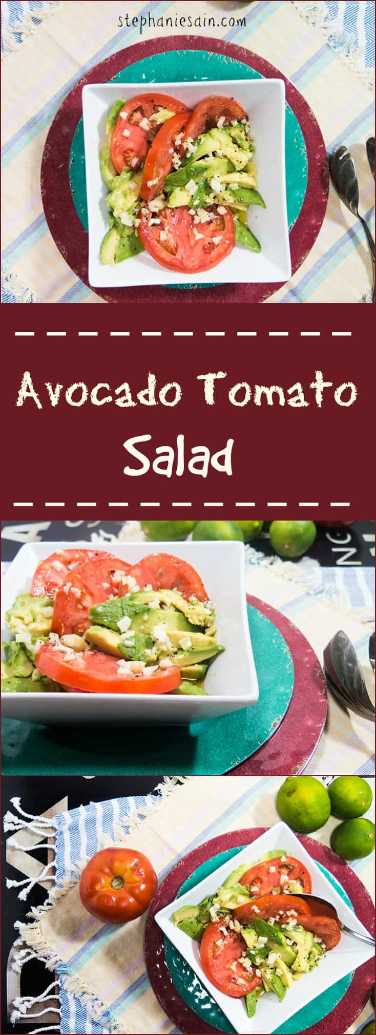 Avocado Tomato Salad is a healthy, quick salad with under five ingredients. Vegan and Gluten Free.