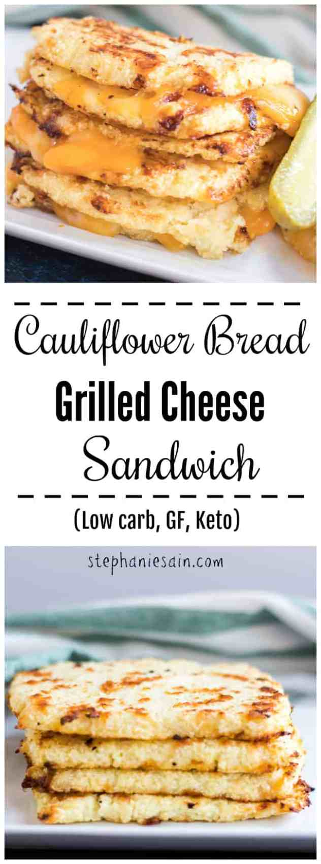 This Cauliflower Bread Grilled Cheese Sandwich is a healthier, lower carb option for a classic grilled cheese. Loaded with melty gooey cheese all slathered between bread made from cauliflower. Gluten Free, Low carb, & Keto.