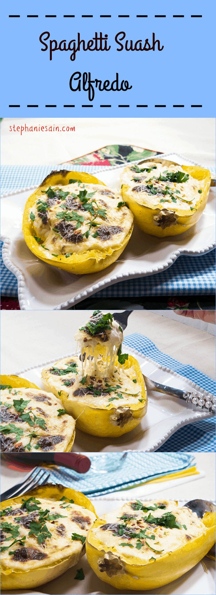 Spaghetti Squash Allfredo is a tasty, healthy, lower carb option for alfredo. Vegetarian and Gluten Free.
