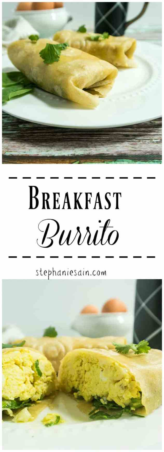 This Breakfast Burrito is the perfect Way to start the day. Loaded with scrambled eggs, spinach, and garlic for a tasty satisfying breakfast or brunch. Vegetarian & Gluten Free.