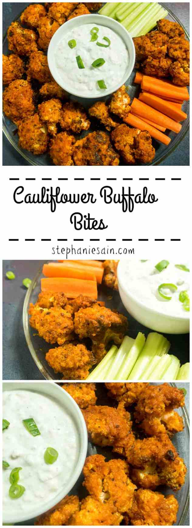 Cauliflower Buffalo Bites are a tasty, healthy vegetarian option for buffalo wings. Easy to prepare with only a couple ingredients. Gluten Free.