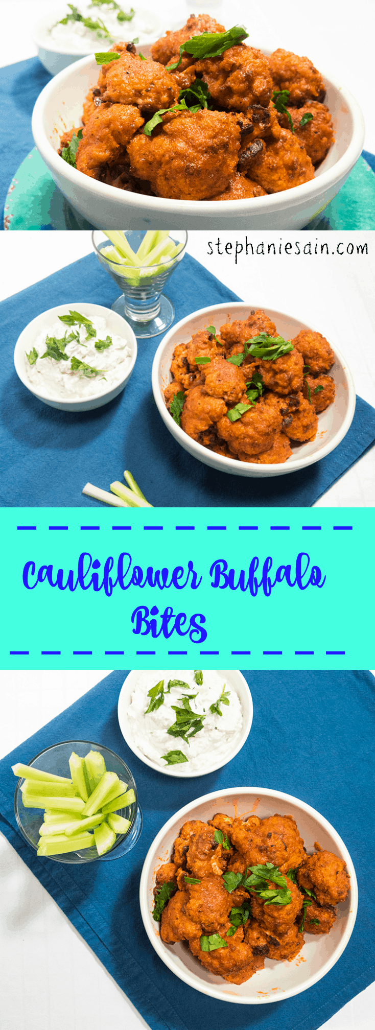 Cauliflower Buffalo Bites are a tasty, healthy option for buffalo wings. Vegetarian and Gluten Free.
