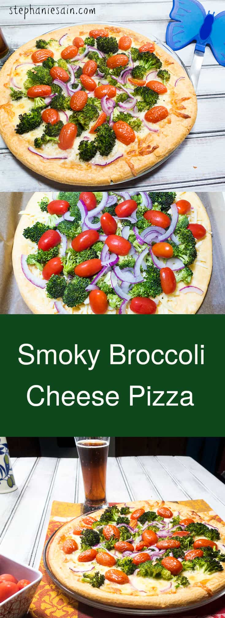 Smoky Broccoli Cheese Pizza is a tasty, easy to prepare pizza with a great smoky flavor. Vegetarian and Gluten Free.