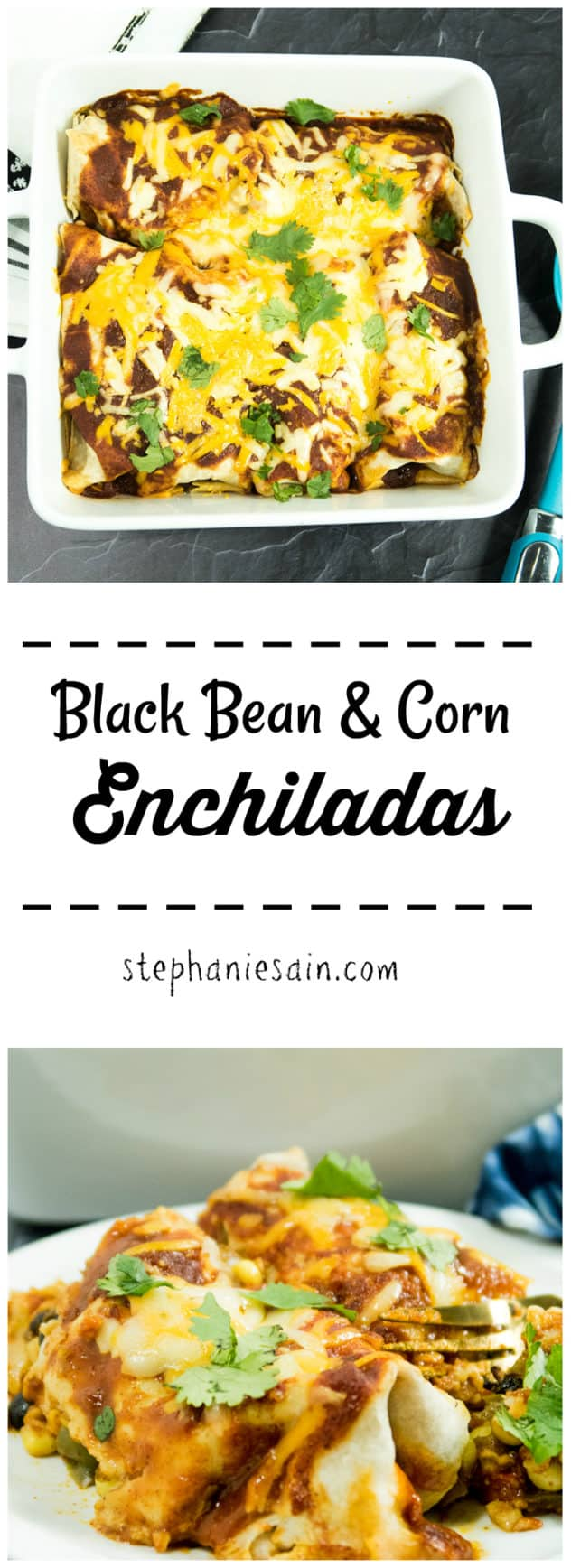 Black Bean & Corn Enchiladas are stuffed with fresh veggies and then topped with homemade enchilada sauce and cheese. Can be made ahead and also taste great as leftovers. Gluten free & Vegetarian.