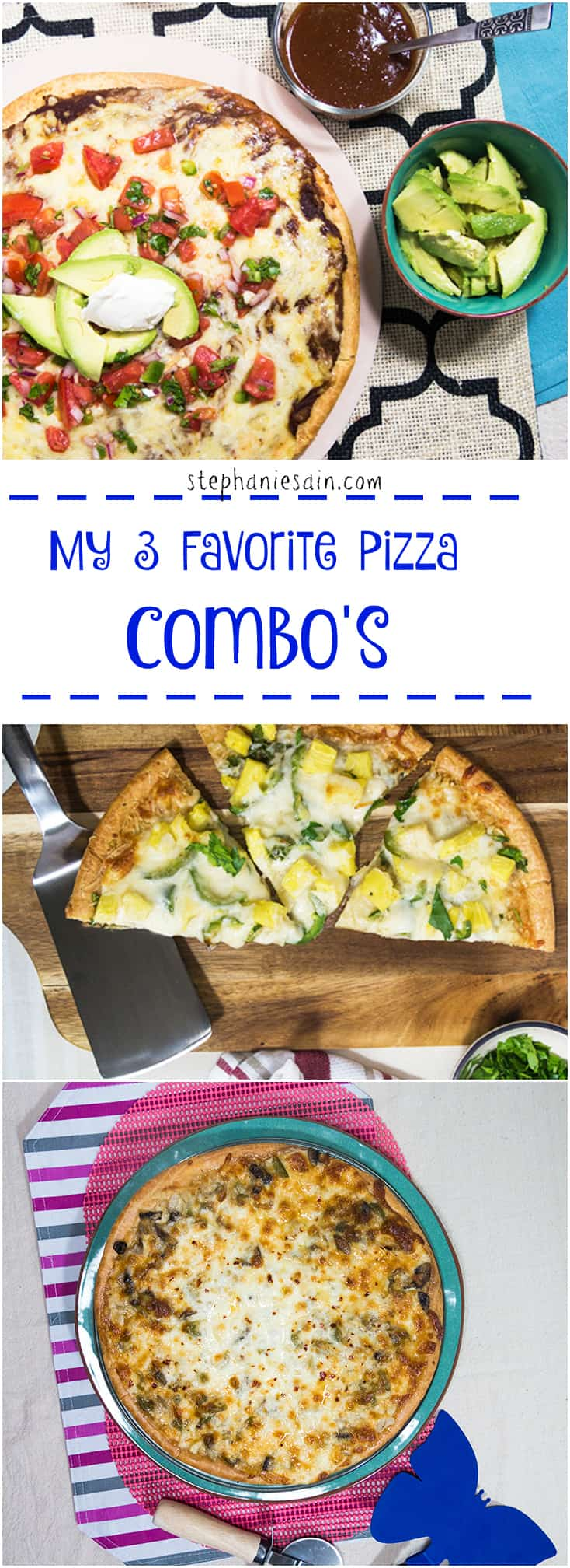 My Three Favorite Pizza Combinations is a collection of what I consider to be great tasting easy to prepare pizza. All are Vegetarian and Gluten Free.