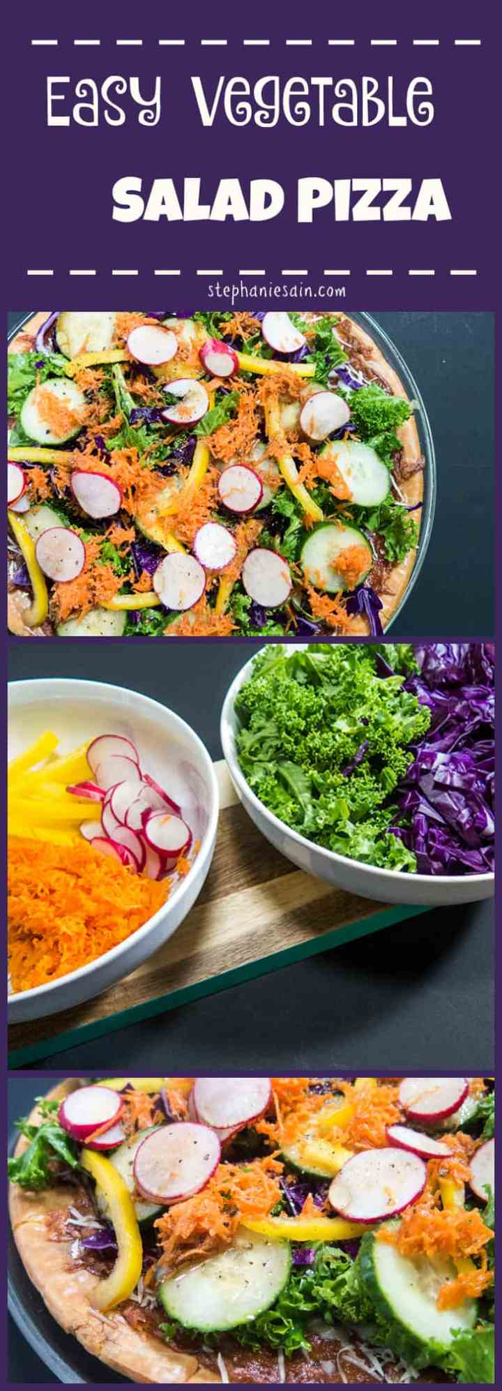 Easy Vegetable Salad Pizza is a quick, tasty pizza to prepare. Customizable with all of your favorite salad toppings. Vegetarian and Gluten Free.