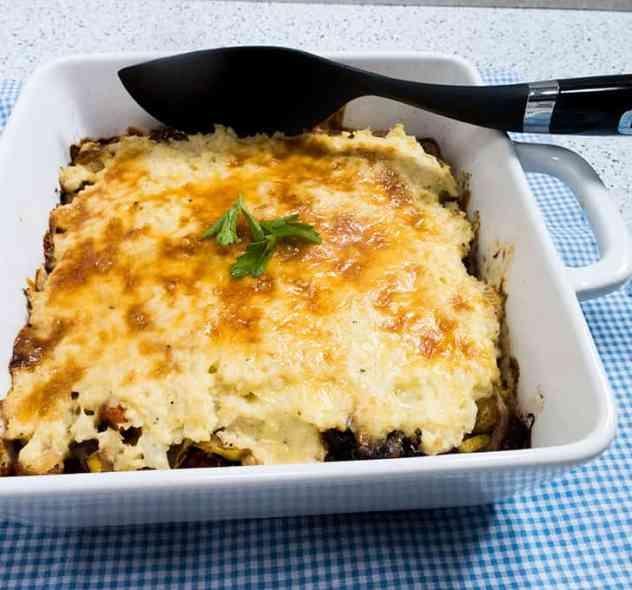 Vegetarian Shepherds Pie with Mashed Cauliflower