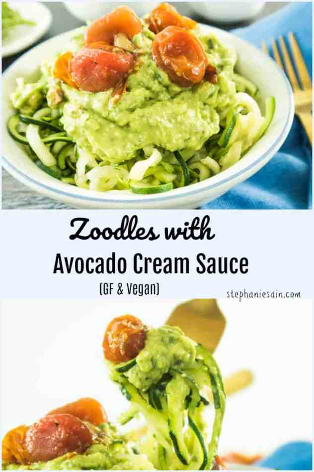 These Zoodles with Avocado Cream Sauce are super easy, delicious, & a quick meal to serve. A creamy delicious sauce topped on zucchini noodles or would even be great on other things. Gluten Free & Vegan.