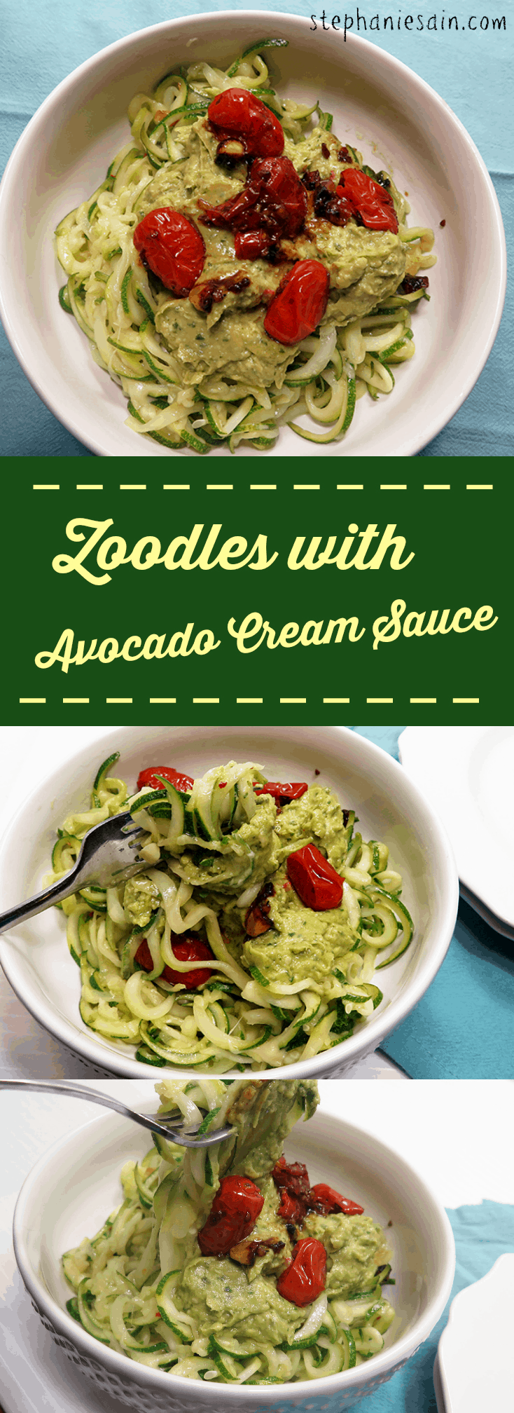 Zoodles with Avocado Cream Sauce are a healthy, light, dinner. Vegan and Gluten Free.