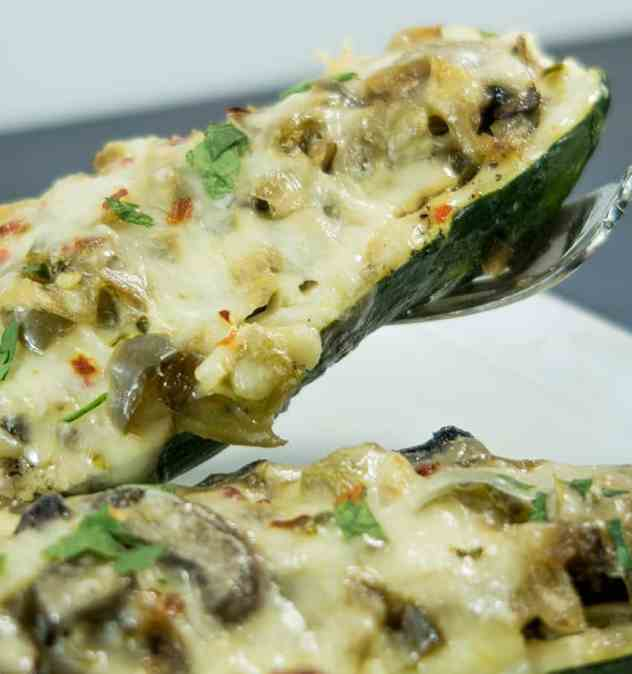 Vegetarian Philly Style Zucchini Boats