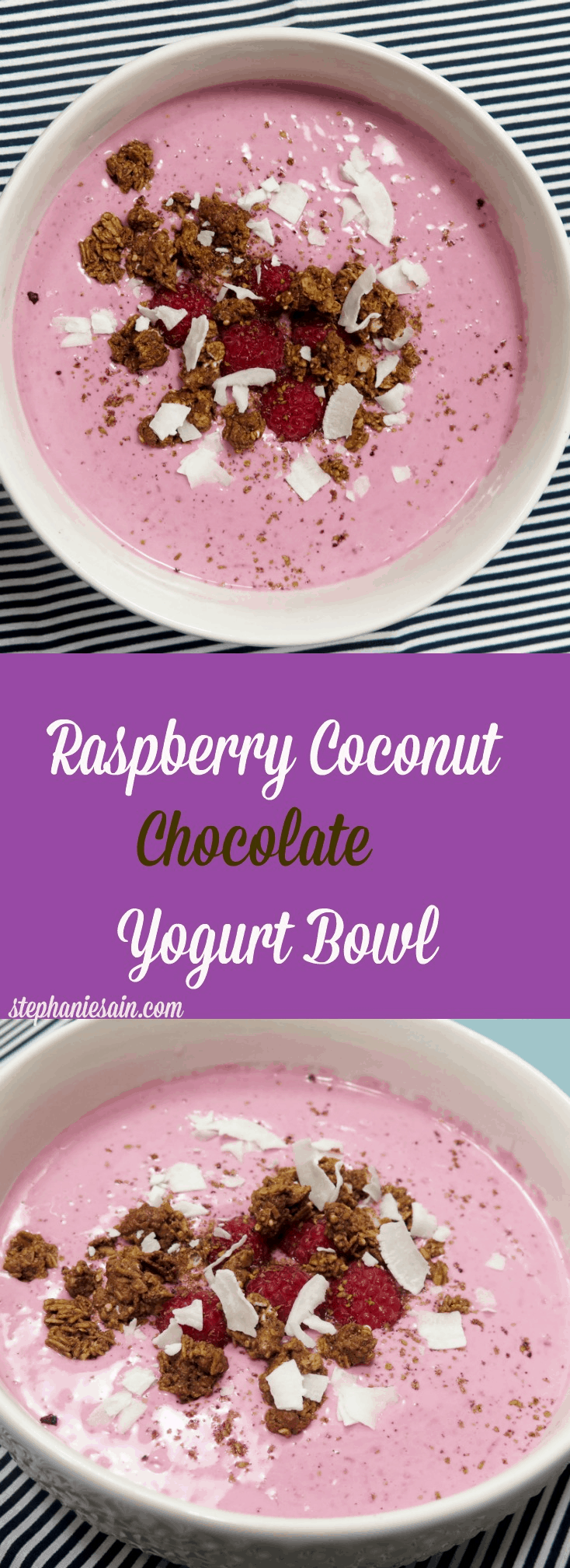 Raspberry Coconut Chocolate Yogurt Bowl is a healthy, tasty, snack or breakfast. Vegetarian and Gluten Free.