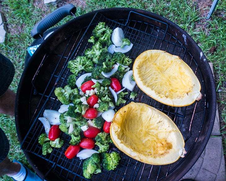 Broccoli Cheese Stuffed Grilled Spaghetti Squash