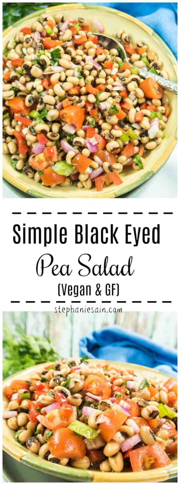 This Simple Black Eyed Pea Salad is loaded with lots of fresh veggies, black eyed peas, and a light vinaigrette dressing. The perfect make ahead salad for all your picnics , cookouts, & gatherings. Vegan & Gluten Free.