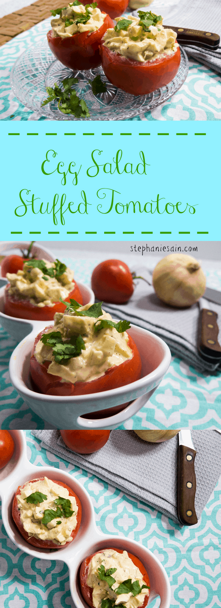 Egg Salad Stuffed Tomatoes make the perfect light lunch or dinner. It's a healthy quick meal that's low in carbs, vegetarian, and gluten free.