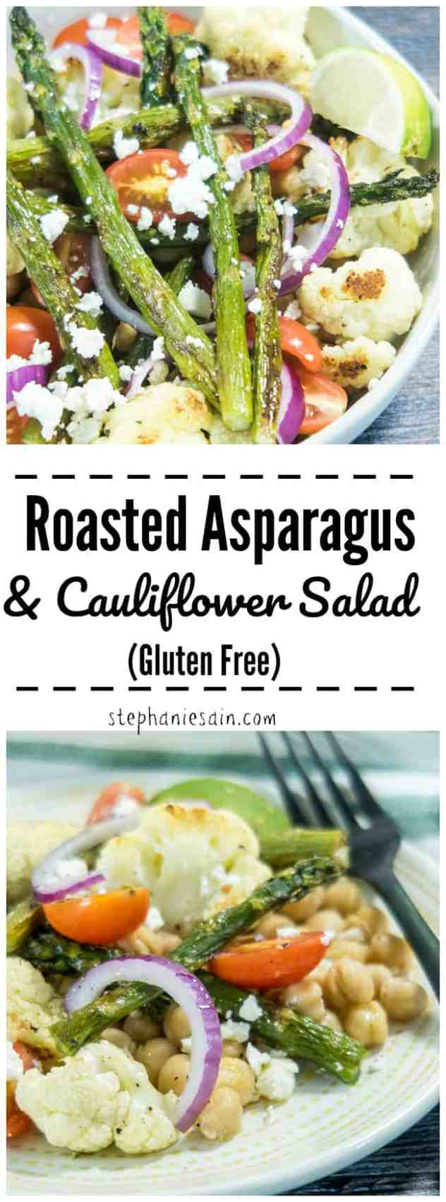 This Roasted Asparagus & Cauliflower Salad is made with tender roasted asparagus, & cauliflower all topped on a bed of chickpeas, tomatoes, & onions. Lightly dressed with lime. An easy one bowl dinner perfect for a quick summer time meal. Gluten Free.