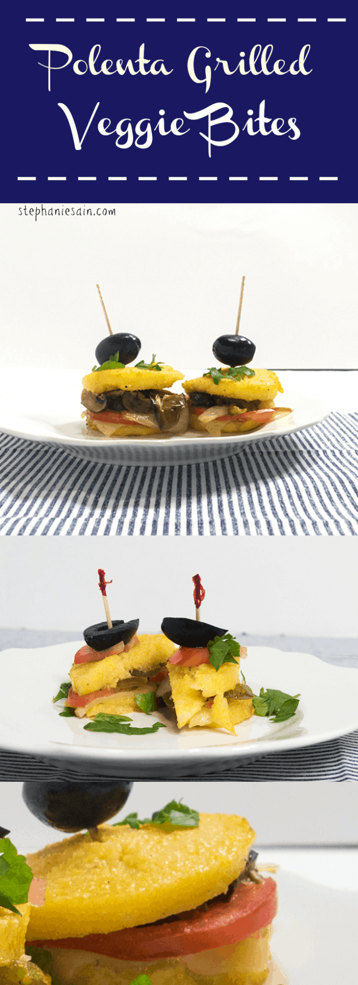Polenta Grilled Veggie Bites are an easy to prepare snack or appetizer. Gluten Free and Vegetarian and are customizable to suit your taste.