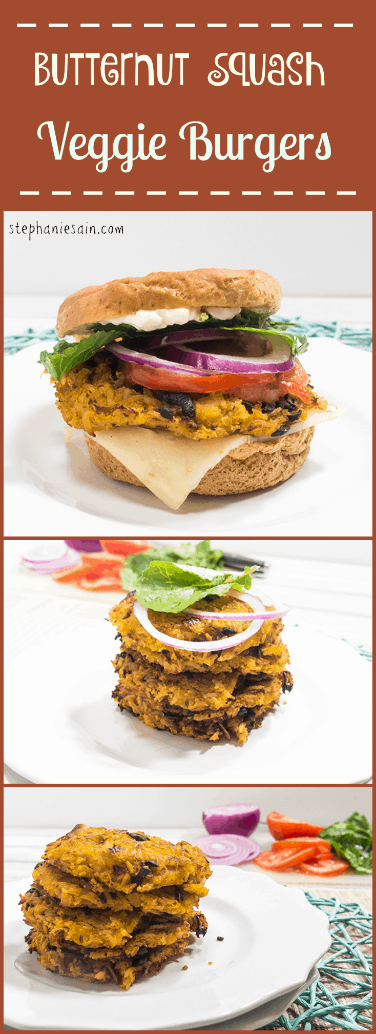 Butternut Squash Veggie Burgers are a tasty, healthy, vegan and gluten free burger. Great with all your favorite burger toppings.