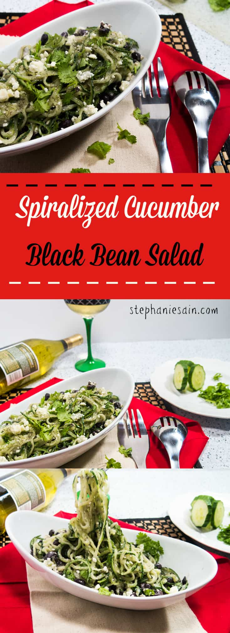 Spiralized Cucumber Black Bean Salad is a healthy, tasty, dinner that can be prepared in under ten minutes. Vegetarian, Gluten Free.