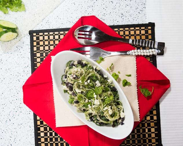 Spiralized Cucumber Black Bean Salad