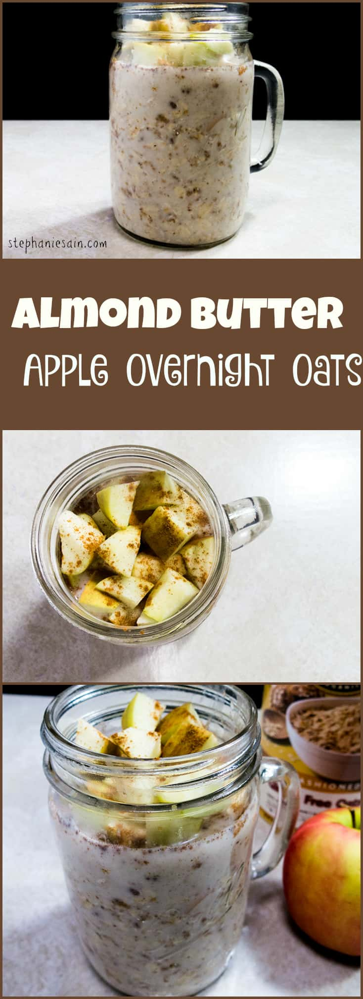 Almond Butter Apple Overnight Oats are a quick, tasty, healthy breakfast that you can just grab and go. Can customize to suit your tastes. Vegetarian, Vegan, and Gluten Free.