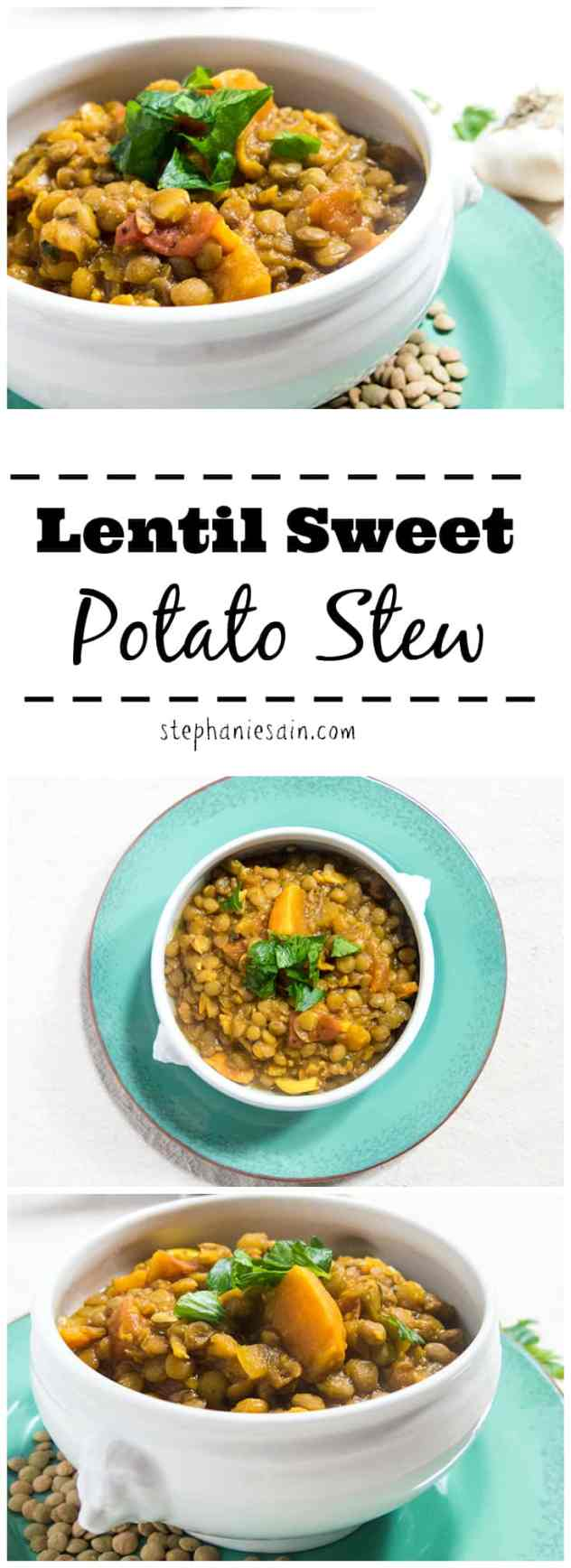 Lentil Sweet Potato Stew is a healthy, easy to prepare stew. Great vegetarian and gluten free stew that can be served alone or with muffins or a salad.