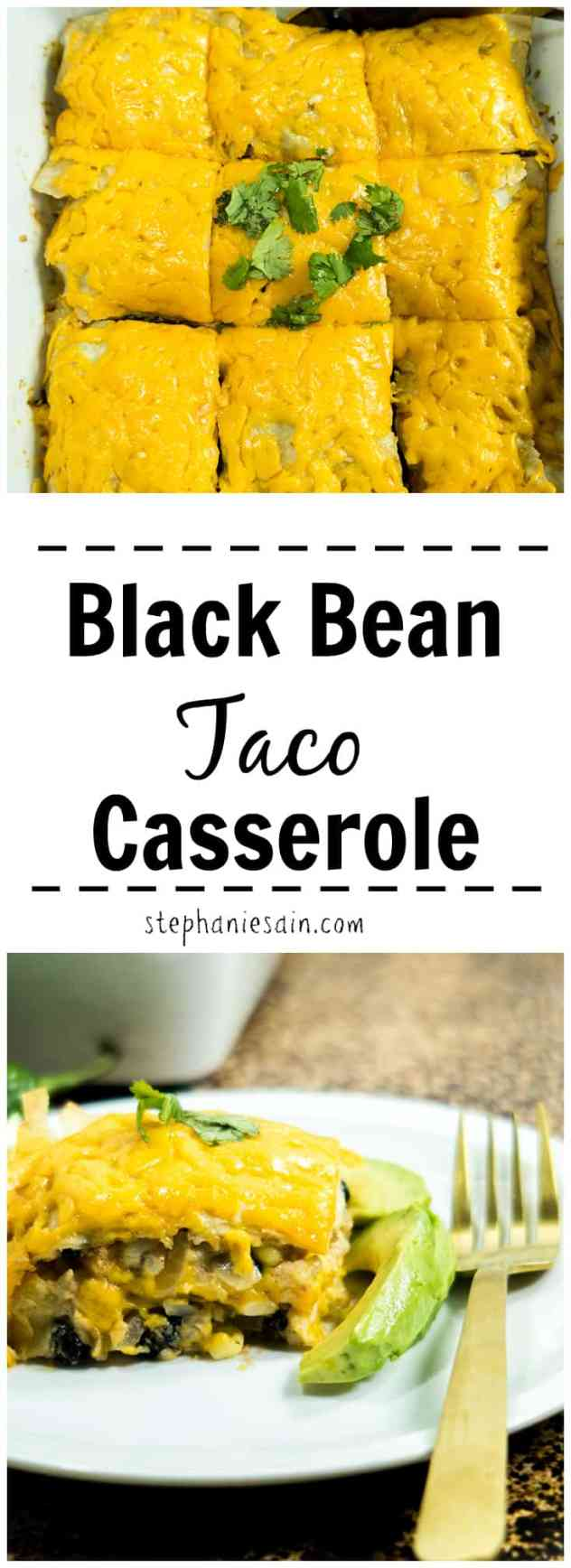 This Black Bean Taco Casserole is super Easy to make and only requires a handful of ingredients. Perfect easy weeknight dinner and great way to switch up Taco night. Gluten Free & Vegetarian.