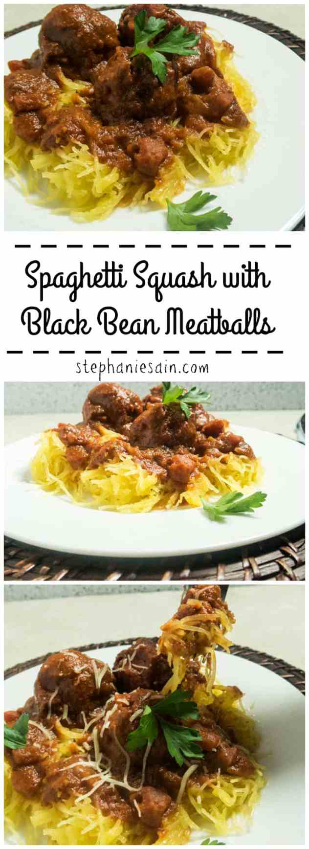 Spaghetti Squash with Black Bean Meatballs is a healthier, tasty version for spaghetti & meatballs. Lower carb, Vegan, and Gluten Free.