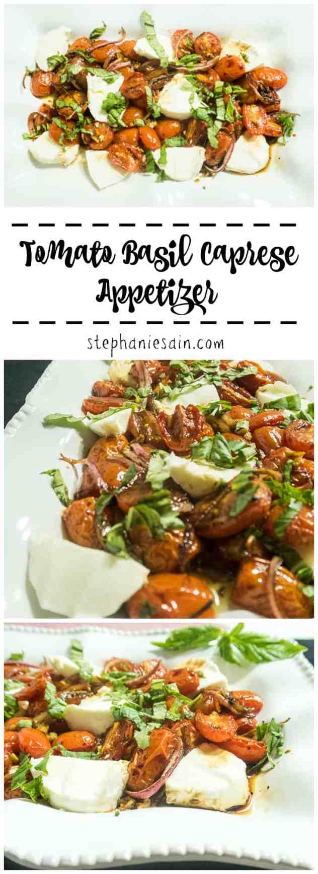 This Tomato Basil Caprese Appetizer is a great starter to any meal or perfect for entertaining. It's also great topped on other things such as bread, salads, etc. Vegetarian & Gluten Free.