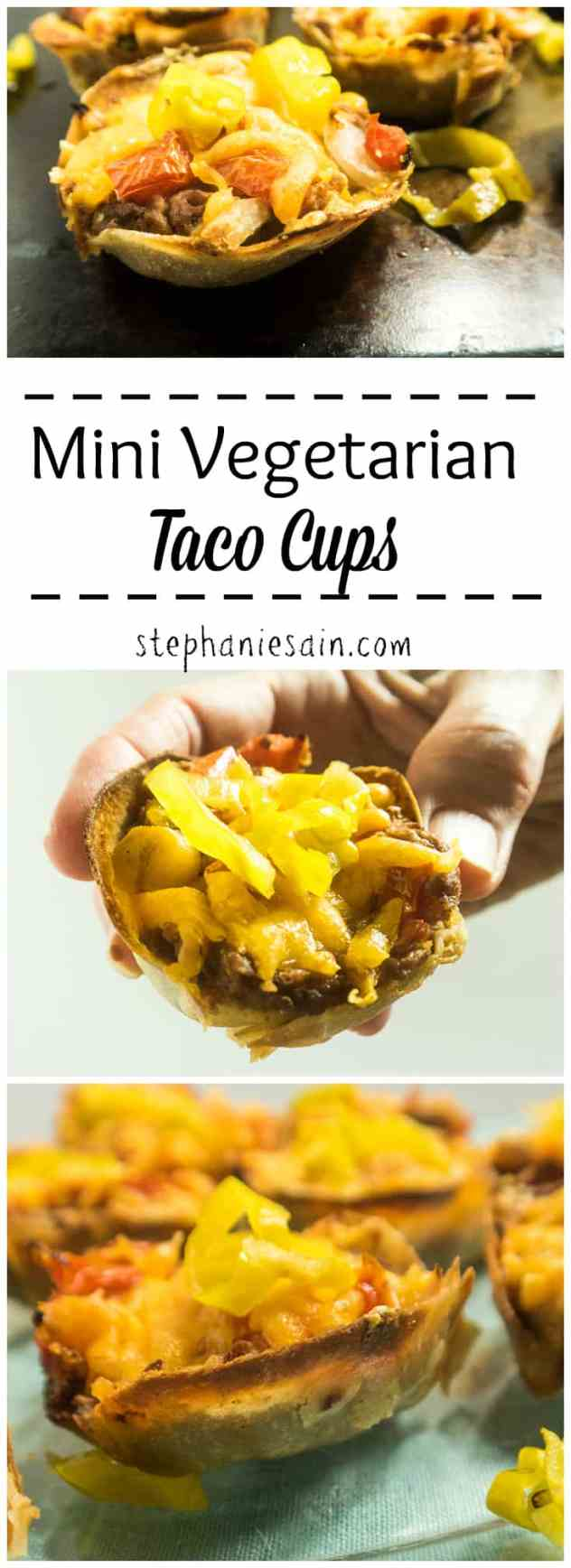Mini Vegetarian Taco Cups are made in a muffin tin and filled with re-fried beans and then topped with your favorites. Portable, kid friendly. Gluten Free & Vegetarian.