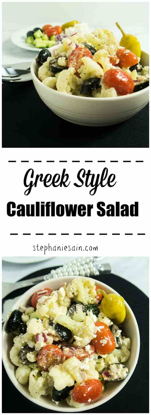 This Greek Style Cauliflower Salad is a tasty, light make ahead salad loaded with cauliflower and a greek dressing. Vegetarian & Gluten Free.