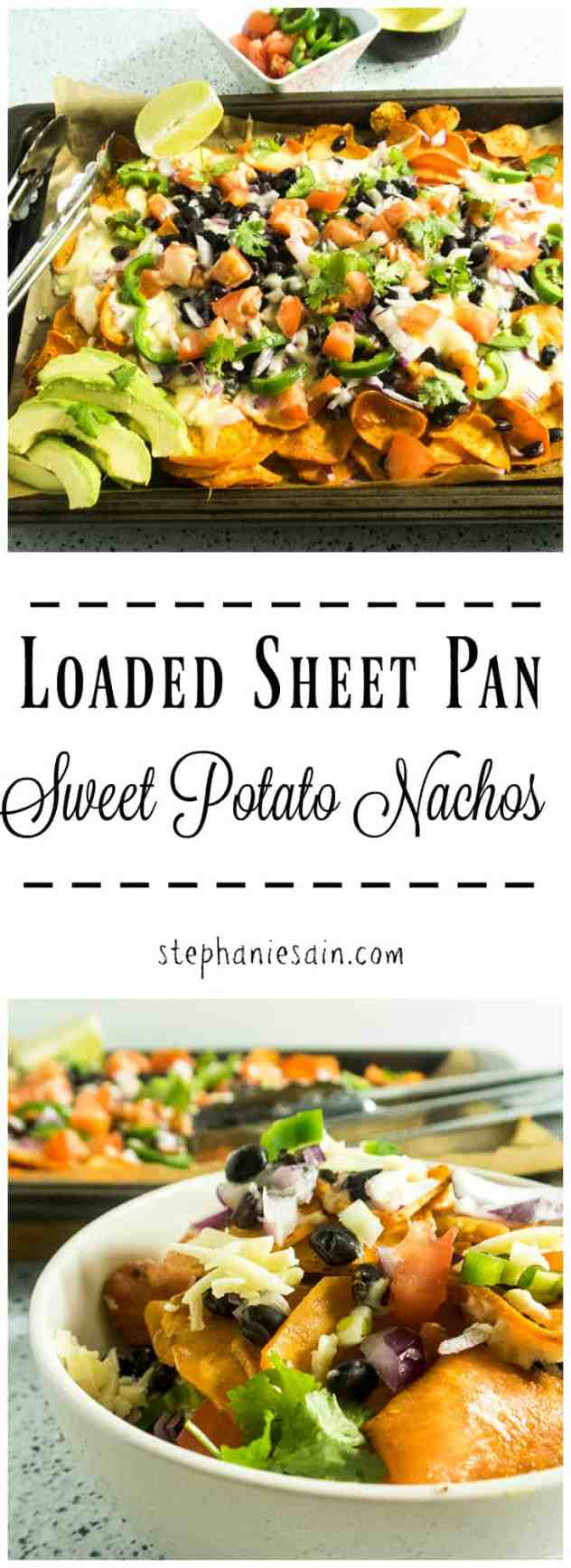 Loaded Sheet Pan Sweet Potato Nachos are a tasty, healthier twist on nachos. Topped with a creamy sauce and all your favorite nacho toppings. Vegetarian, Gluten Free & Vegan option.