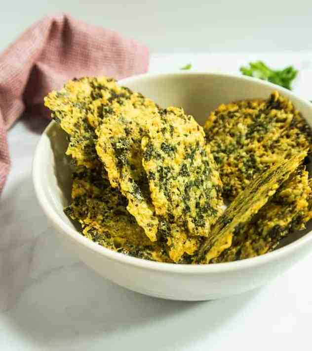 Four Ingredient Parmesan Kale Crisps