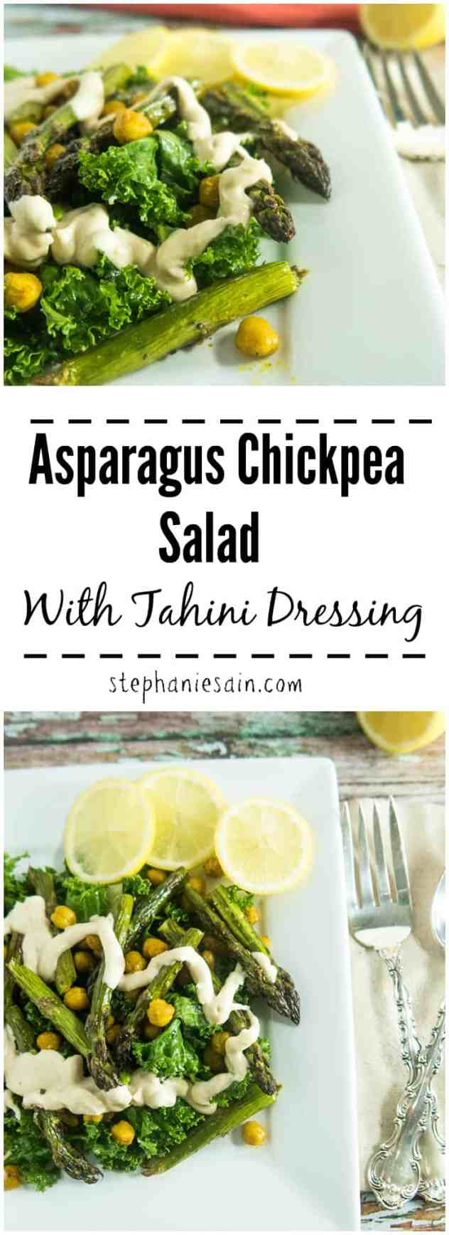 Asparagus Chickpea Salad with Tahini Dressing is an easy, tasty, one bowl meal loaded with roasted asparagus and turmeric roasted chickpeas. Vegan & Gluten Free.