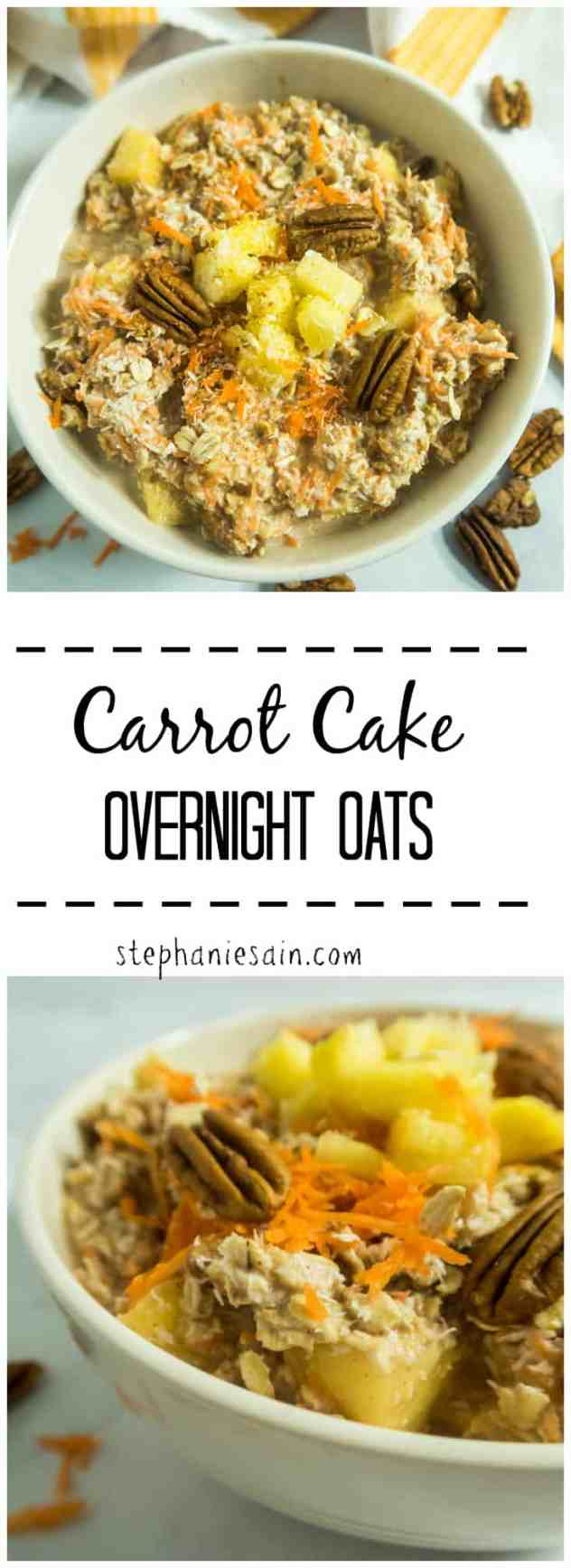 Carrot Cake Overnight Oats are a tasty, healthy breakfast to wake up to Ready to go. It's like having dessert for breakfast. Vegan & Gluten Free.