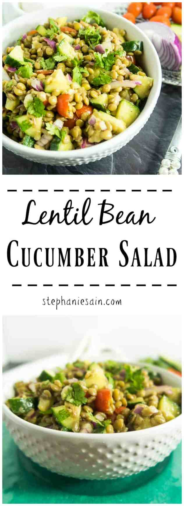 Lentil Bean Cucumber Salad is the perfect make ahead summer salad. Loaded with protein from the lentils , crunchy fresh cucumbers, tomatoes and a light vinaigrette. Vegan & Gluten Free.