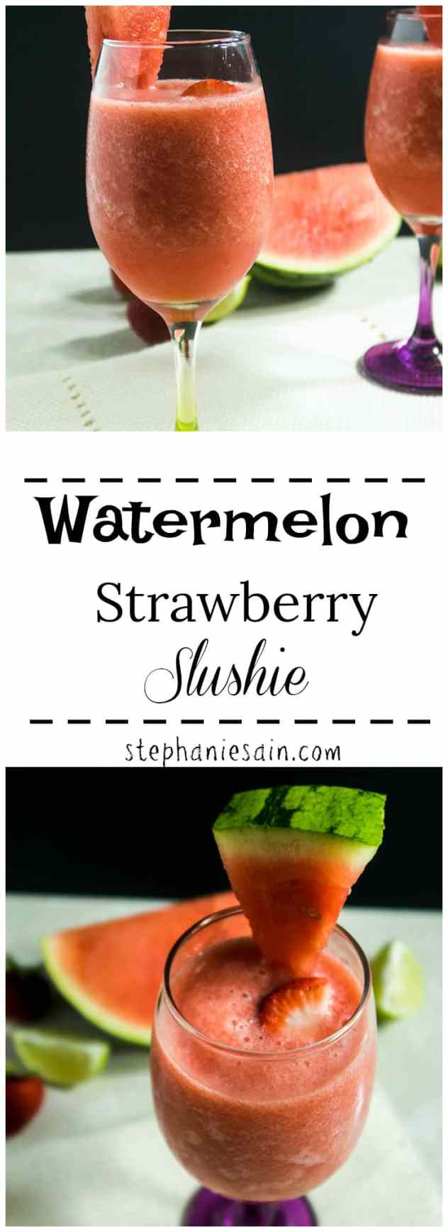 Watermelon Strawberry Slushie requires only three ingredients. Kid friendly but can also easily become a tasty adult beverage. Vegan & Gluten Free.