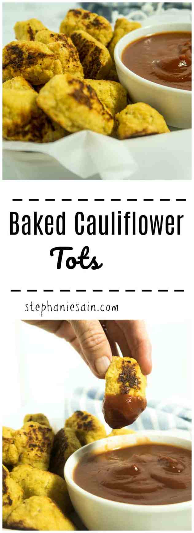 Baked Cauliflower Tots only require six ingredients for a tasty, healthier low carb option to traditional tater tots. Great as a side, or snack. Vegetarian & Gluten Free.