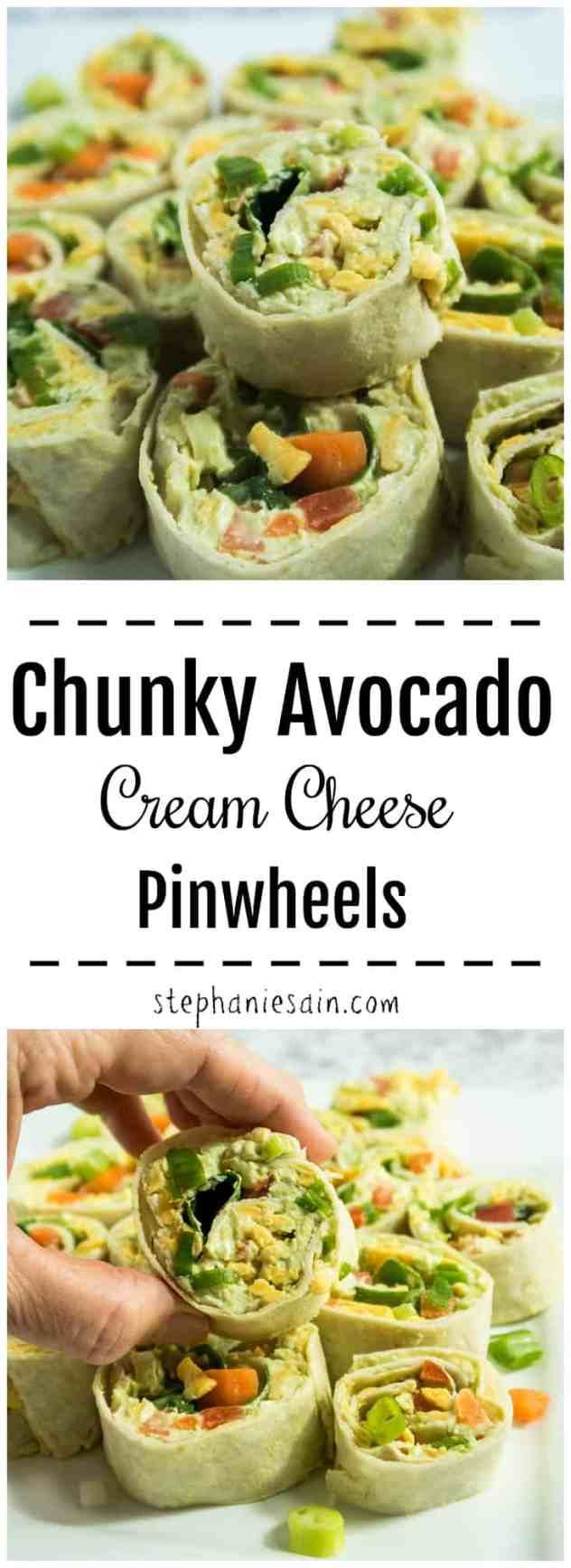 Chunky Avocado Cream Cheese Pinwheels are made with a tasty avocado spread and then loaded with all your favorite veggies. The perfect bite sized snack or even appetizer for entertaining. Gluten free & Vegetarian.