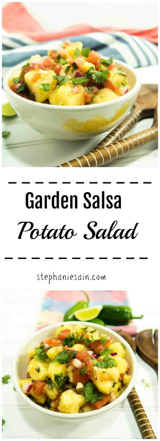 Garden Salsa Potato Salad is super easy to prepare, flavorful and great for all your summertime gatherings! Potatoes and salsa combined in a tasty salad that is both Vegan & Gluten Free.