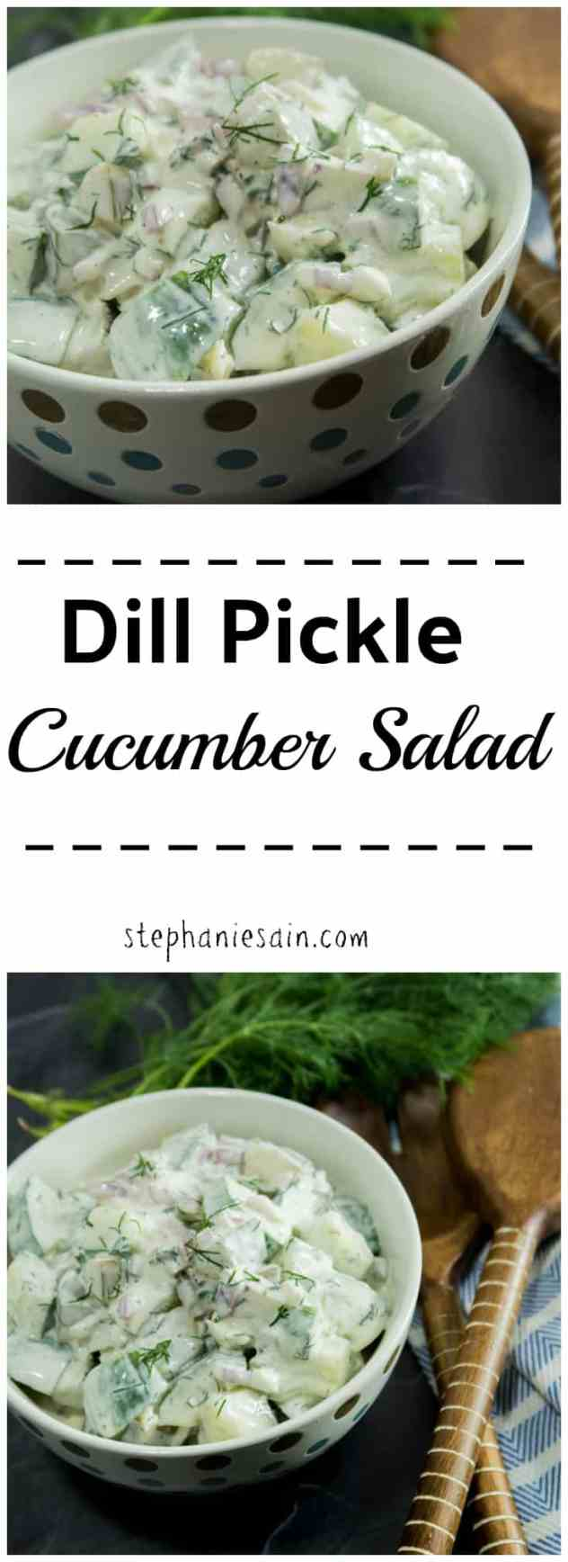 Dill Pickle Cucumber Salad is an easy to prepare tasty, creamy salad. Perfect as a side with all your light and easy summer meals or great at gatherings.Gluten free & Vegetarian.