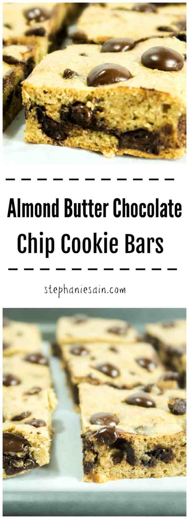 Almond Butter Chocolate Chip Cookie Bars are a healthier cookie bar and contain no added refined sugars, gluten free, and vegetarian. Great for breakfast, snack or anytime you're craving chocolate.