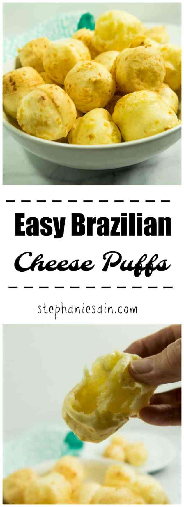 Easy Brazilian Cheese Puffs require only five ingredients and are light, fluffy and tasty. Great as a snack, appetizer or perfect side with your meal. Gluten free & Vegetarian.