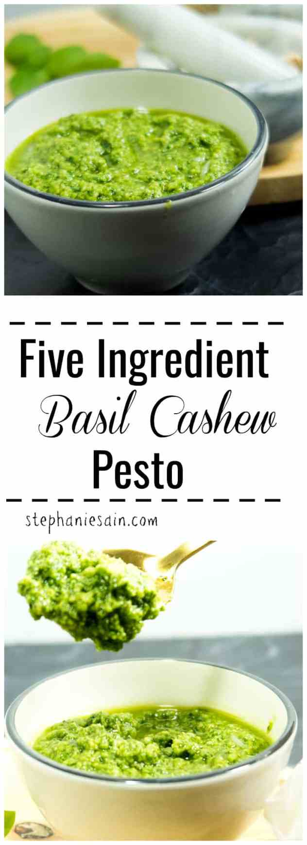 Five Ingredient Basil Cashew Pesto is ready in under 10 minutes. Fresh basil, cashews, & lots of garlic combined for a tasty flavorful pesto. Gluten free & Vegetarian.