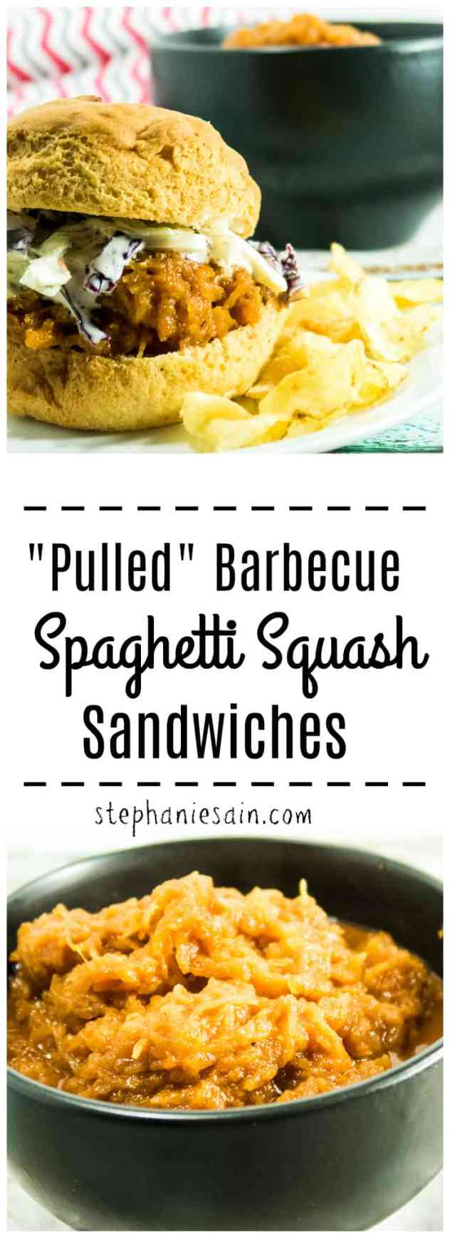 """Pulled"" Barbecue Spaghetti Squash Sandwiches are a great vegetarian, vegan option for barbecue. Made with homemade BBQ sauce and topped with crunchy coleslaw. The perfect addition for a cookout or anytime. Gluten Free, Vegetarian, Vegan option."