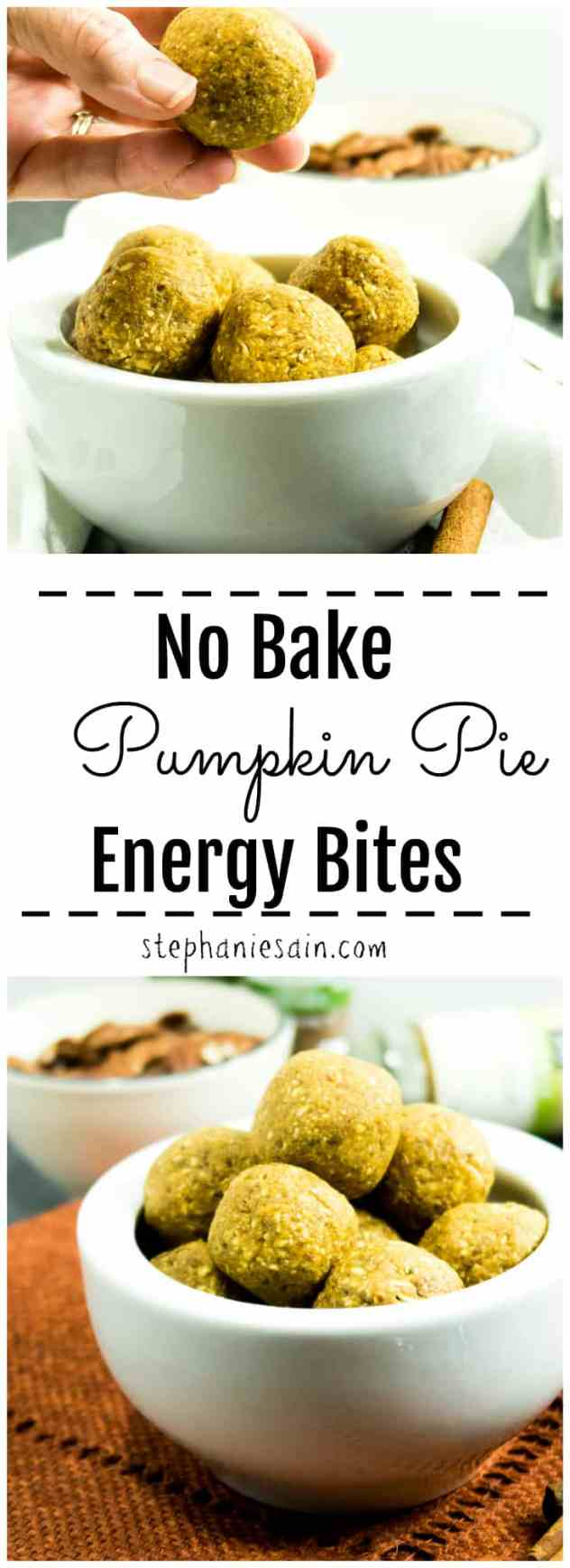No Bake Pumpkin Pie Energy Bites are a quick, tasty, easy to prepare snack or even perfect for breakfast. Made without added refined sugars and tastes like a little guilt free bite of pumpkin pie. Vegan & Gluten free.