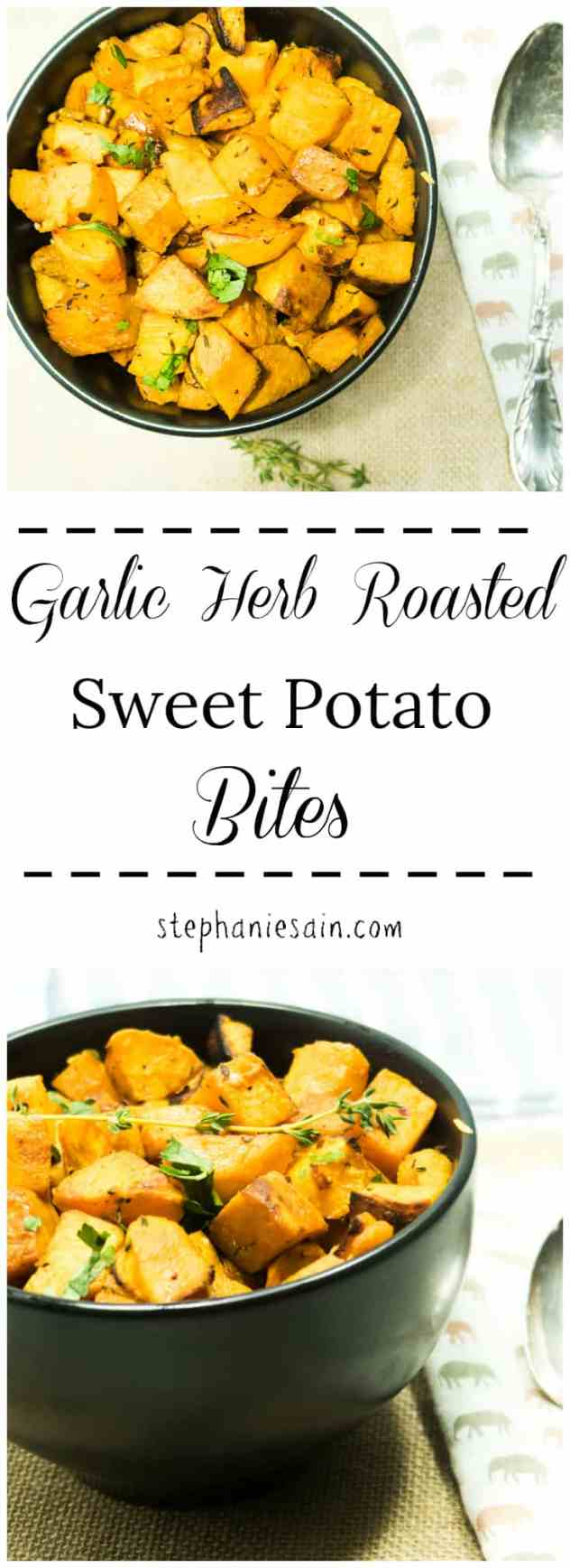Garlic Herb Roasted Sweet Potato Bites are perfectly seasoned with fresh thyme & garlic then slowly roasted to perfection. Perfect easy side any time or great for a Holiday meal. Vegan & Gluten Free.