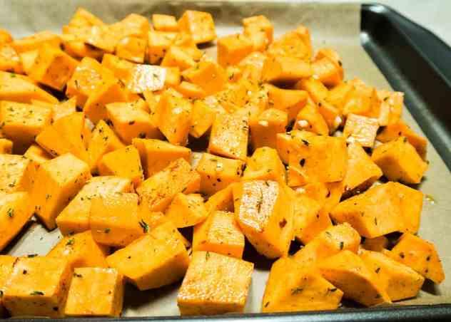 Garlic Herb Roasted Sweet Potatoes